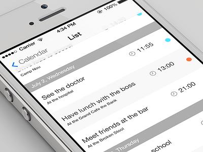 iOS7 Calendar list ios7 listview calendar white ui user interface ux