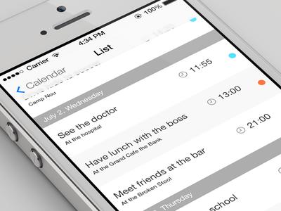 iOS7 Calendar list