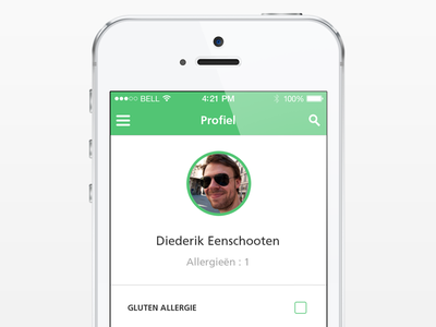 Selecting your allergies. ios7 profile allergies user interface user interface ui clean