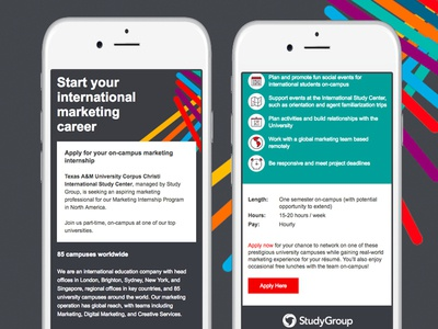Study Group email design mobile design email