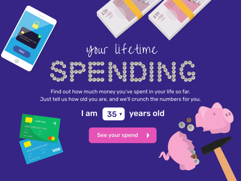 Lifetime Spend web app work in process landing page illustration design app