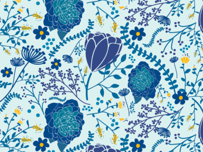 Blue Flower Surface Design yellow blue flowers floral graphics illustration wallpaper design fabric design surface design design