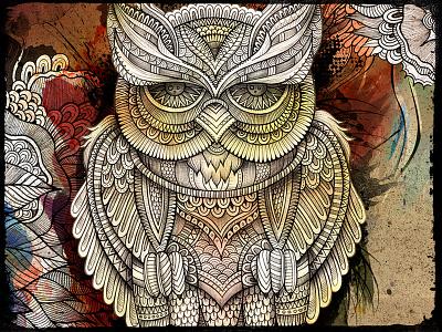 OWL art doodles illustration graphics owl bird feathers ornament watercolor