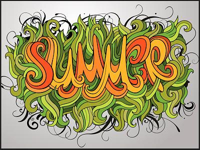 Summer hand lettering calligraphy decorative doodles floral font letter lettering lines season summer typeface typography