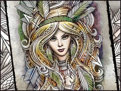 SAGITTARIUS sagittarius zodiac woman graphics hippie feathers fashion astrology creative art illustration doodles