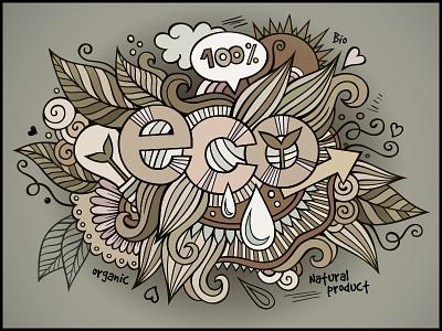 Eco doodles elements art doodles hand drawn eco graphics type word ecology nature bio organic logo