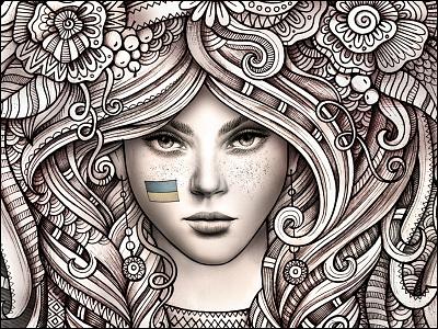 Ukrainian Girl art ukraine ukrainian girl women patriotic doodles illustration graphics watercolor portrait fashion