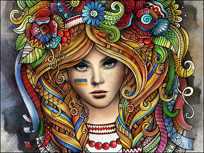 Ukrainian Girl art ukraine ukrainian girl women patriotic doodles illustration graphics ornament watercolor fashion