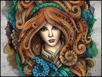 """CAPRICORNUS"" zodiac capricornus series art graphics illustration woman girl horoscope astrology doodles ornament"