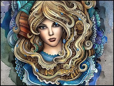 """AQUARIUS"" zodiac aquarius series art graphics illustration woman girl horoscope astrology doodles ornament"