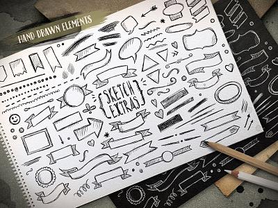 Sketch extras sketch extras hand drawn art artistic elements pencil pen design
