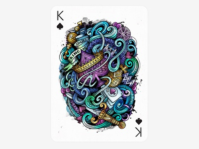 ♠  King of Spades - Playing Arts Contest  art illustration spades doodles card king of spades creative contest playing arts playing card