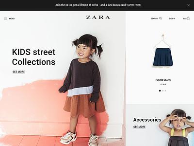 ZARA - web shop shop woocommerce minimalistic web blackwhite magento design clean ux ui page front page