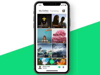 Music App • Side project green cover collec streaming service app music ux ui interface iphone iphonex