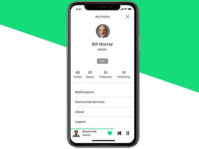Music App • Profile page edit settings streaming app music ux ui interface iphone iphonex profile