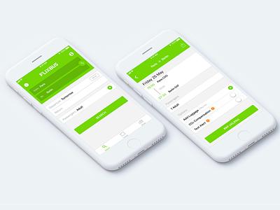 Flixbus • Redesign Concept Mobile App ios green search checkout booking app mobile ux ui redesign flixbus