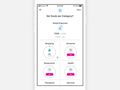 Revolut • Category budget Proposal setting category budgeting analytics finance fintech redesign app mobile app ios mobile interface revolut