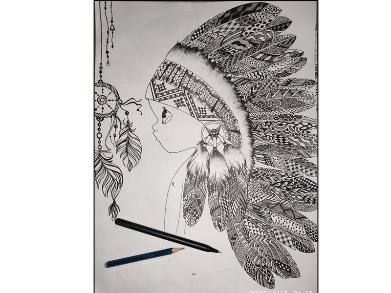 feather doodle art drawing
