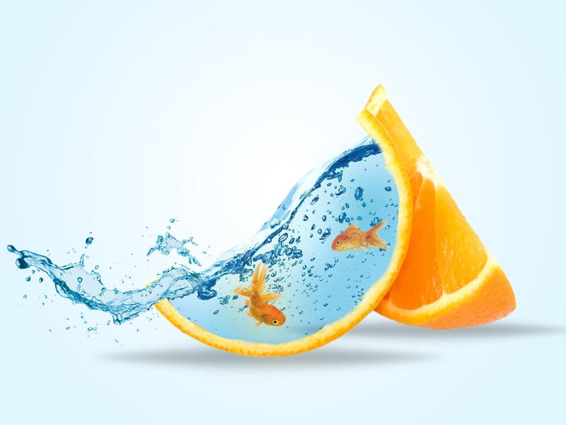Photo manipulation with orange illustration