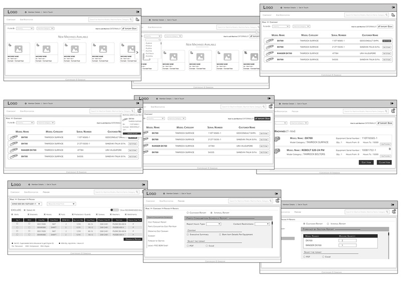 Wireframes of application ux design ui