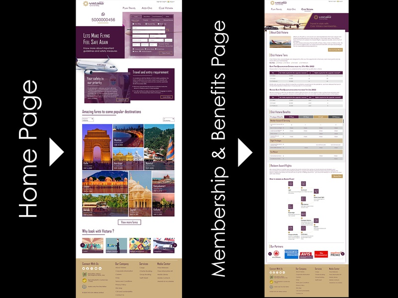 airways home page and membership page ux ui design