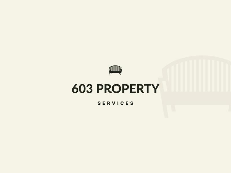603 Property Services Primary Long landscape design exterior design exterior garden brand identity identity property minimalism mark bench elegant minimal brand icon logodesigner branding typography logo