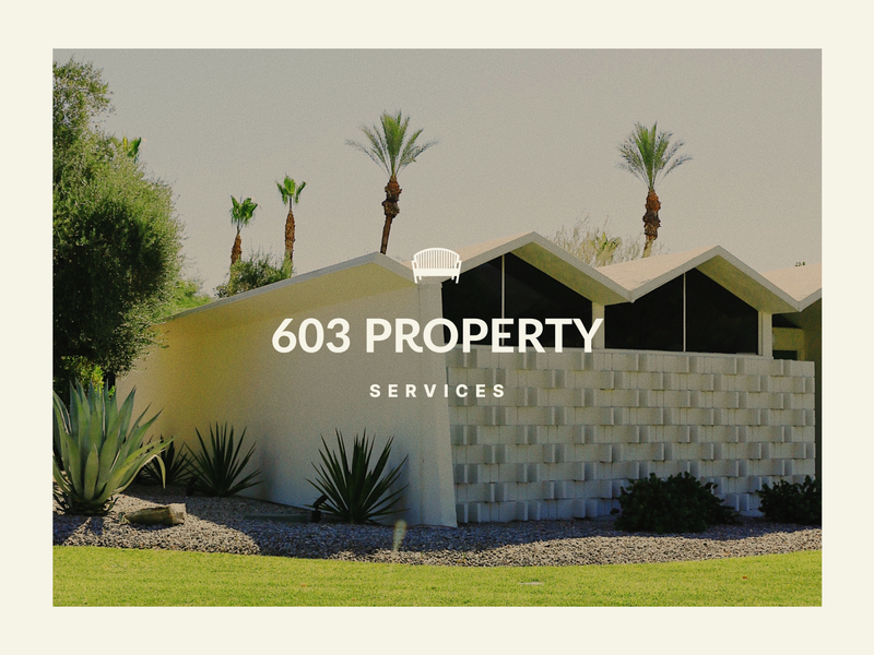 603 Property Services | Primary Long brand identity identity elegant minimalism minimal logodesigner exterior landscape design landscape garden bench mark icon brand branding typography logo