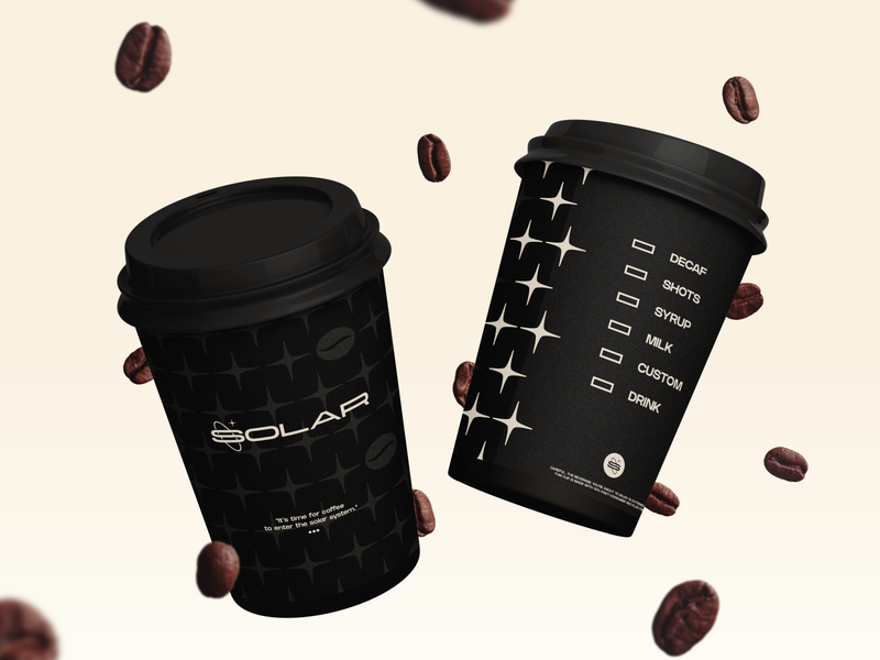 Solar | Coffee Cup space cafe brand identity motion drink identity beans bean coffee shop coffee cup pattern creative brand logo design icon typography branding coffee cup