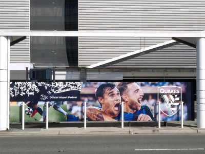 Earthquakes airport billboard vinyl wrap graffiti sign billboard bay area san jose sports vector illustrator