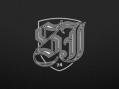 SJ74 mark linework one color logo typography bay area san jose sports vector illustrator branding