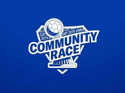 Community Race concept branding one color logo typography san jose sports vector illustrator