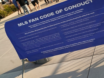 Code of Conduct barrier wayfinding sign environmental design typography vector illustrator