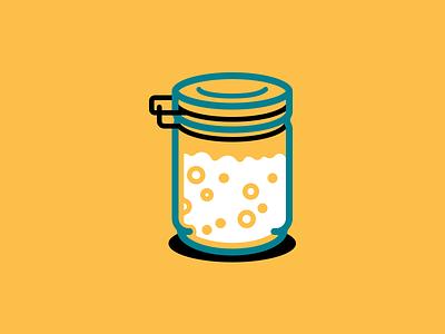 Sourdough starter vector illustration icon bread levain starter sourdough