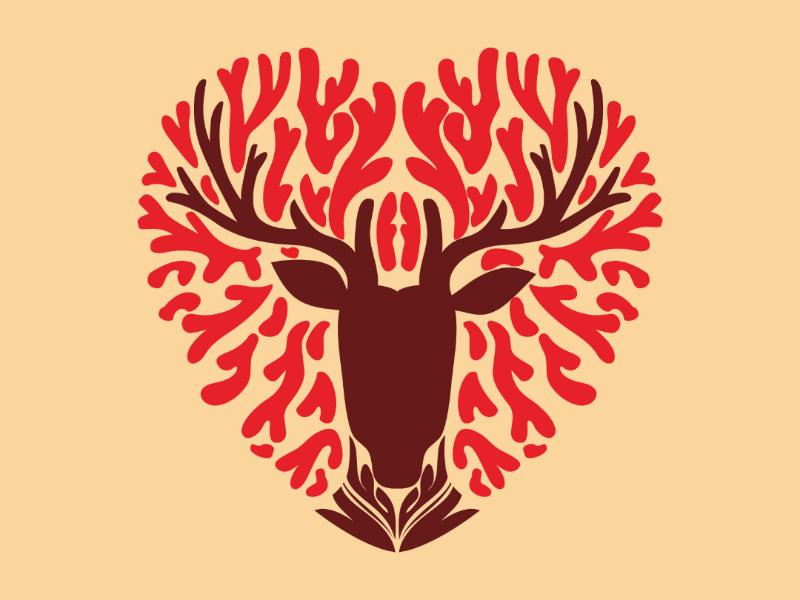 Heart of deer heart cute animal animals deers deer art love