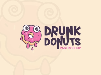 Drunk donuts Pastry shop Logo logo 3d illustration creative icon brand identity logo design logo design concept logo design challenge branding logo a day logo