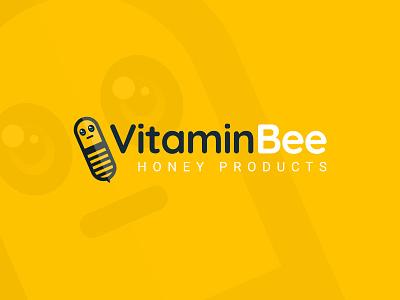 Vitamin Bee Logo honeyproducts honey bee vitamin yellow logo yellow brand identity brand design branding logo design branding logo 3d creative illustration vector logo design challenge logo design concept logo design logo a day logo animation logo