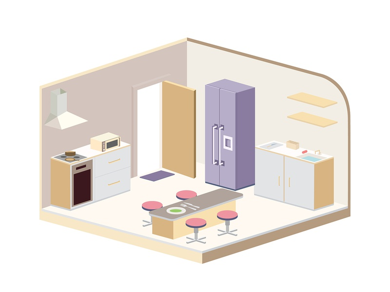 Isometric Kitchen interior plate knife fork food cooking chair table 3d flat rack oven refrigerator door creative vector illustration kitchen isometric illustration isometric design isometric