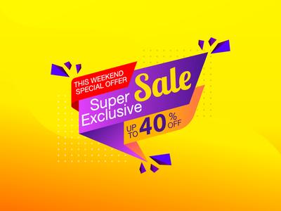 Super Exclusive Sale  banner illustration