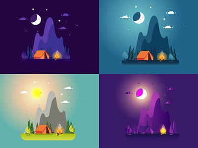 Summer camp landscape illustration