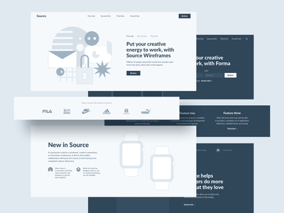 Source Wireframe Kit figma sketch website ui vector illustration minimal web ux flat design