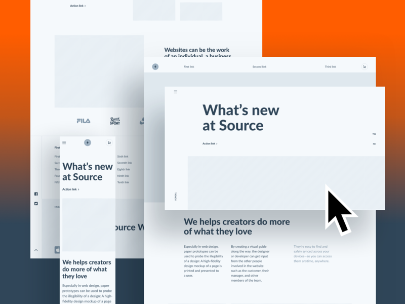 Source Wireframes Samples interface web flat web design webdesign minimal website ui design