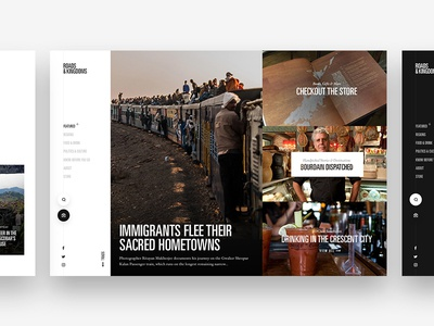 Travel Journalism web design ui modern clean grid bourdain left nav journalism explore travel
