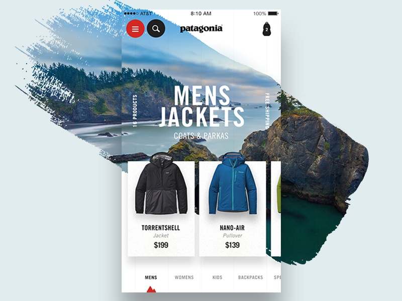 Patagonia Collection 2.0 interaction card shadow jacket gear product ux ui mobile shop patagonia