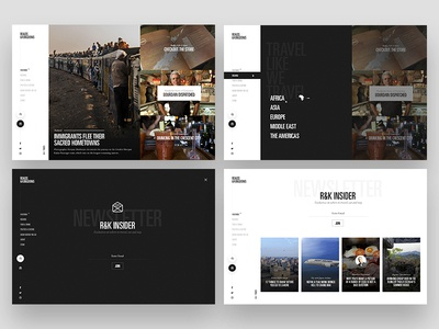 R&K 2.0 web design ui modern clean grid bourdain left nav journalism explore travel