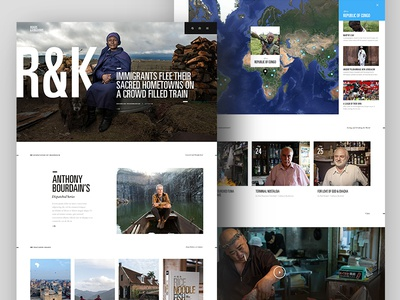 R&K Homepage Preview clean modern bourdain negative space web design navigation visual design condensed font ui ux homepage travel journalism
