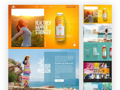 GT Kombucha colorful modern long layout product condensed font healthy drinks web design kombucha