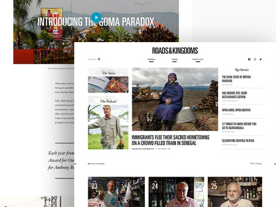 Roadsandkingdoms.com Redesign homepage typography web design food travel politics culture travel journalism content art direction article layout independent travel site