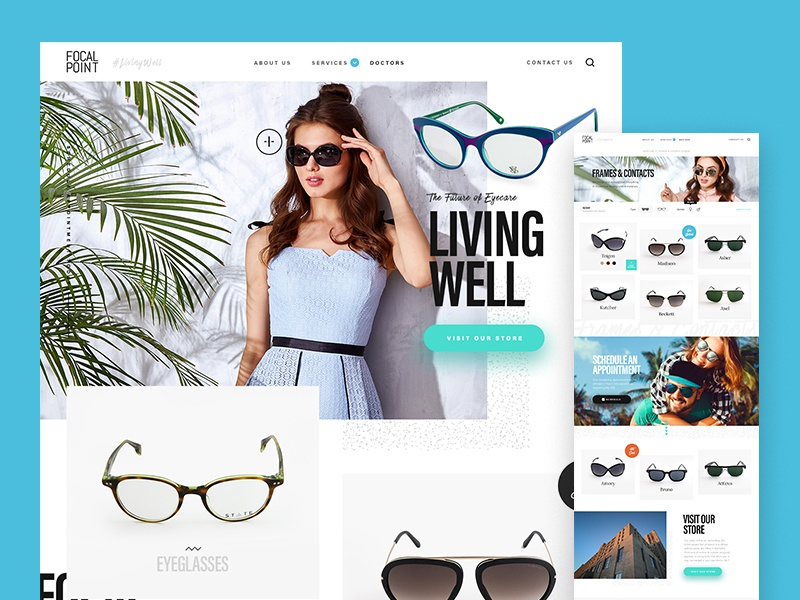 Sunglasses Brand & Shop overlapping elements modern website layout hipster fashion product ecommerce sunglasses frames contacts