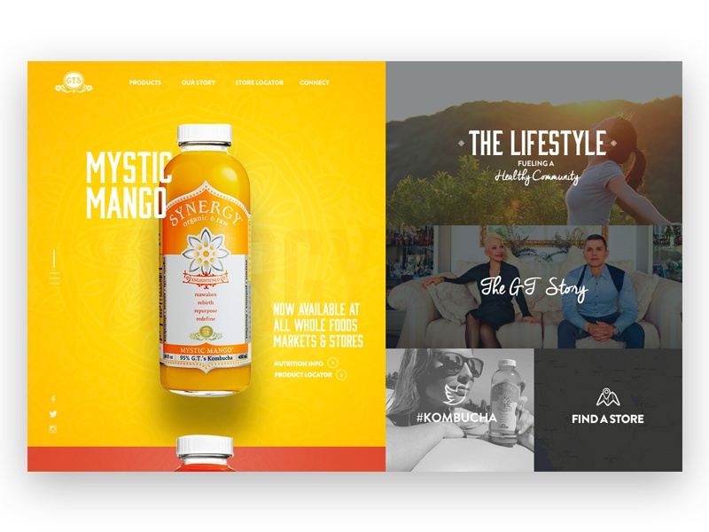 Kombucha bright web design web design drinks condensed font website drink concept gt kombucha