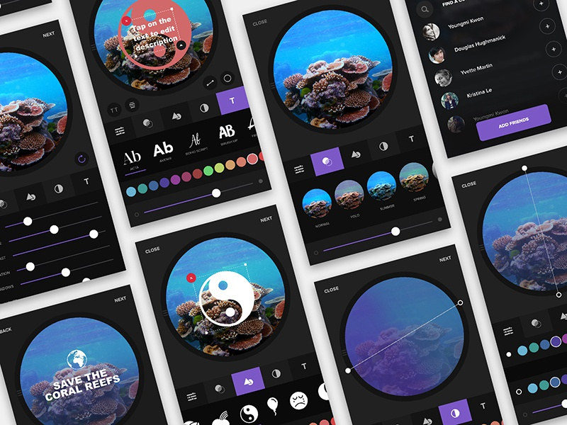 App Create Flow user interface ux flow dark ui social share app image gradient image filters add text to image ios android app create flow